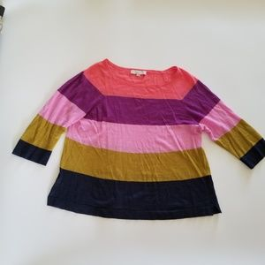 Ann Taylor LOFT Color Block Striped Sweater Size L